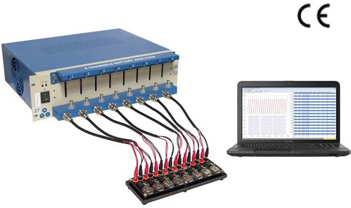 8 Channel Battery Analyzer (0.1-10mA, up to 5V) with Laptop & Software for Research - BST8-MA